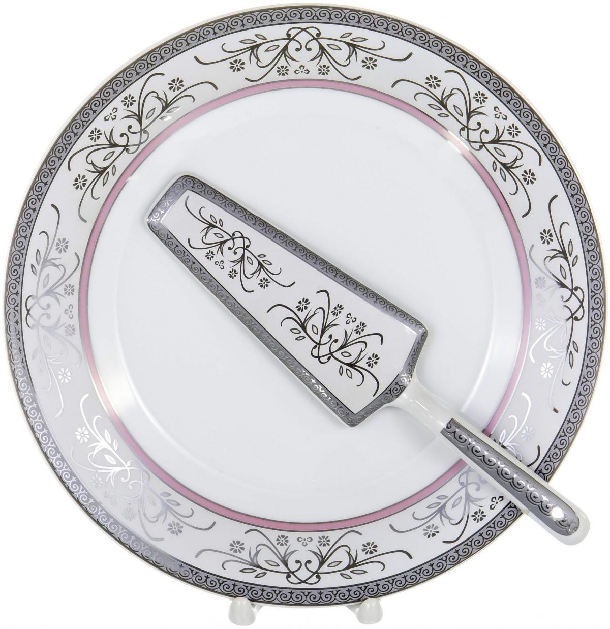 Набор для торта Olaff, 2 предмета. LRS-CPN2-010LRS-CPN2-010CAKE 2, набор д/торта (2) блюдо 255мм + лопатка, декор - золото-серебро, подарочная упаковка