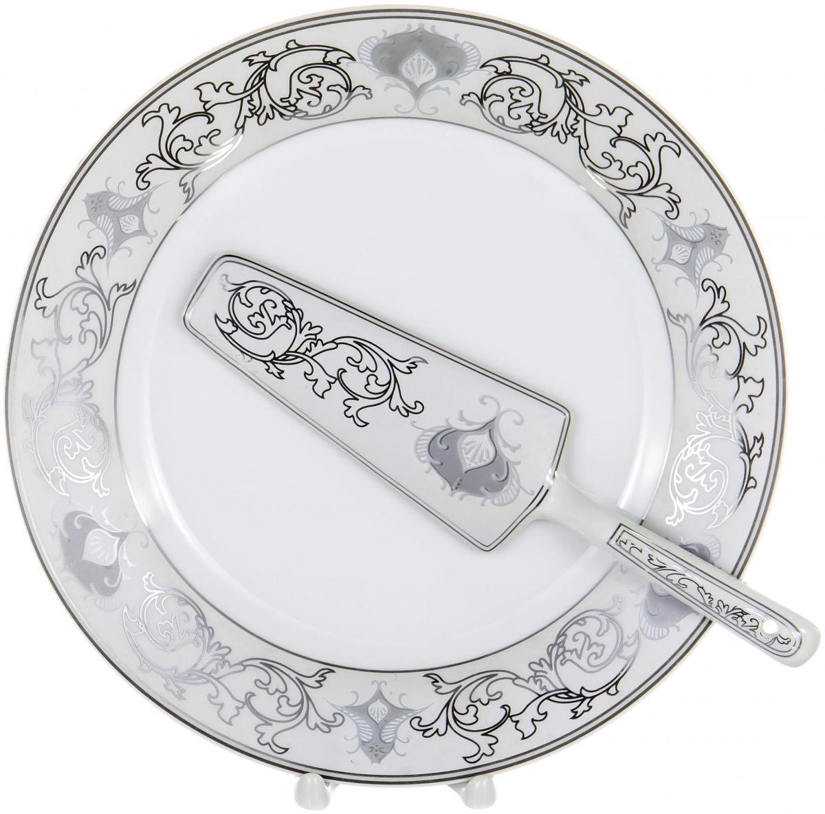 Набор для торта Olaff, 2 предмета. LRS-CPN2-012LRS-CPN2-012CAKE 2, набор д/торта (2) блюдо 255мм + лопатка, декор - золото-серебро, подарочная упаковка