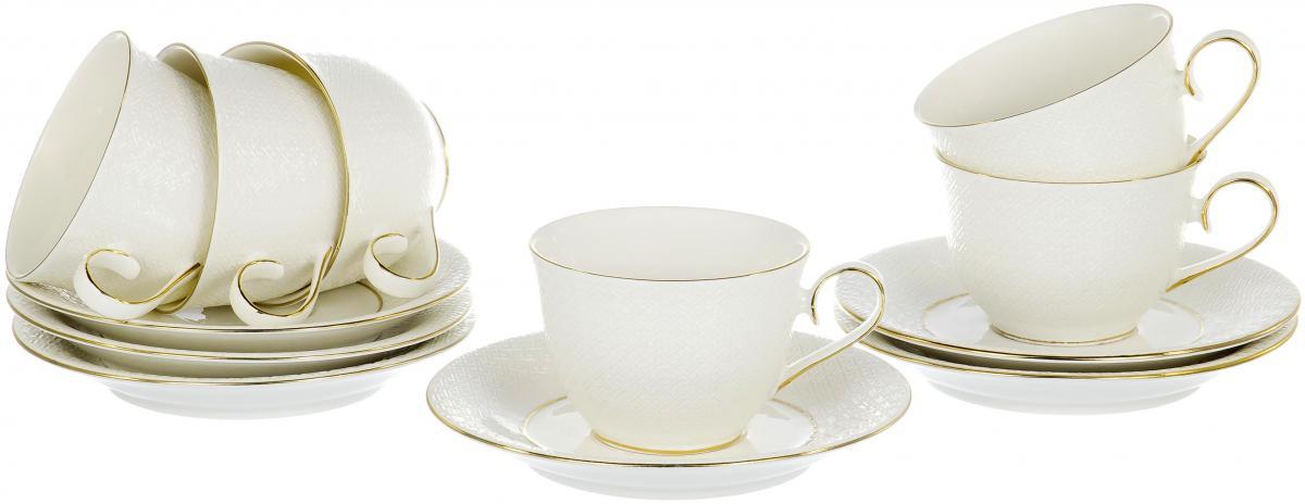 Набор чайный Olaff Паутинка, 12 предметов. RL14948N-12-GRL14948N-12-GПАУТИНКА, набор чайный (12) 6 чашек 250мл + 6 блюдец, NEW BONE CHINA, декор - белоснежный с золотом, круглая подарочная упаковка