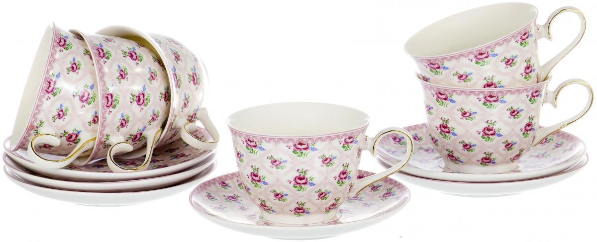 Набор чайный Olaff Пионы, 12 предметов. XX-12BHE-G4736-8XX-12BHE-G4736-8ПИОНЫ, набор чайный (12) 6 чашек 250мл + 6 блюдец, декор - белоснежный с золотом, подарочная упаковка