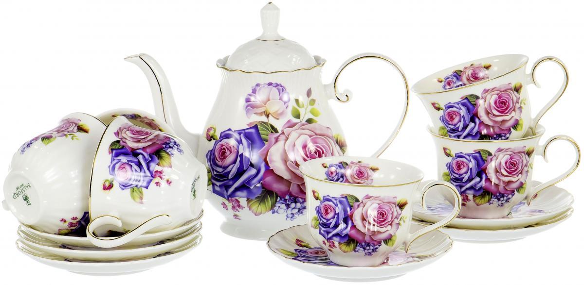 Набор чайный Olaff Розы, 13 предметов. XX-13Y-BLW-C4813XX-13Y-BLW-C4813ПАРКОВАЯ РОЗА, набор чайный (13) 6 чашек 250мл + 6 блюдец + чайник 1250мл, декор цветочный с золотом, квадратная подарочная упаковка