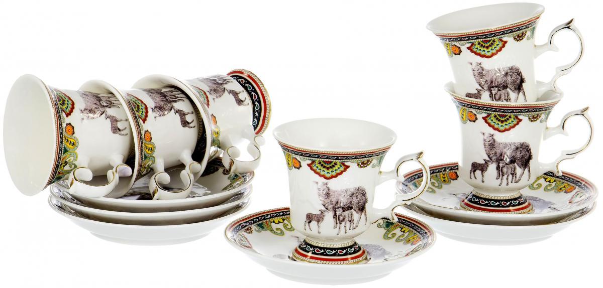Набор чайный Olaff Round Box, 12 предметов. XXY-6XT-C4543XXY-6XT-C4543ROUND BOX, набор чайный (12) 6 персон, 6 чашек 200мл + 6 блюдец, JADE PORCELAIN, подарочная круглая упаковка