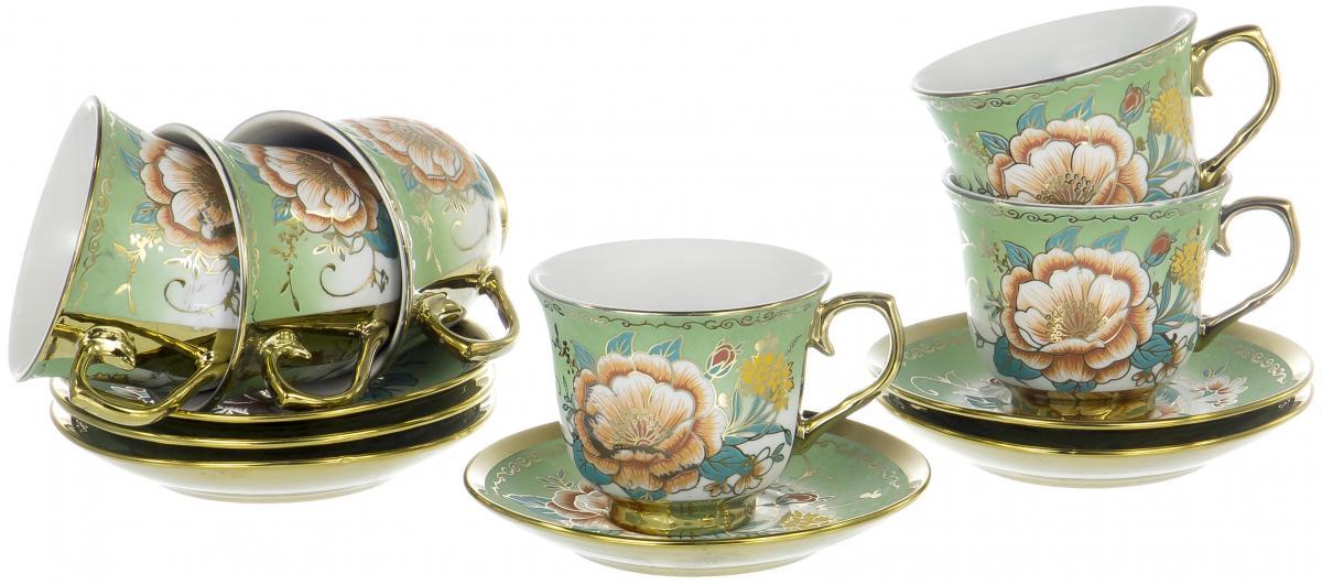 Набор чайный Olaff Цветы, 12 предметов. YSG-12RB-B-006 чайный набор 4пр chance v 220мл керамика подарочная упаковка