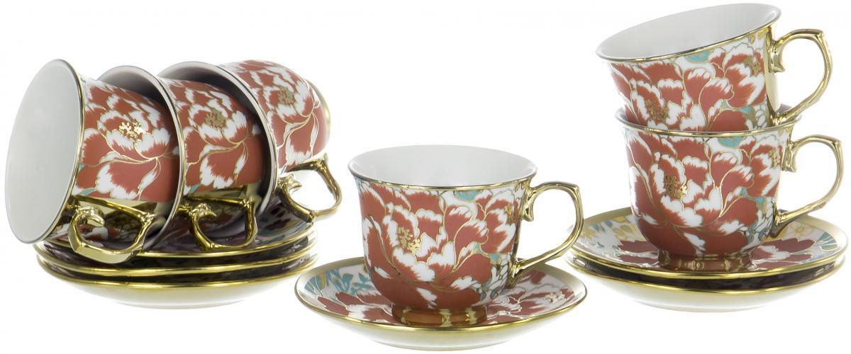 Набор чайный Olaff Цветы, 12 предметов. YSG-12RB-B-005 чайный набор 4пр chance v 220мл керамика подарочная упаковка