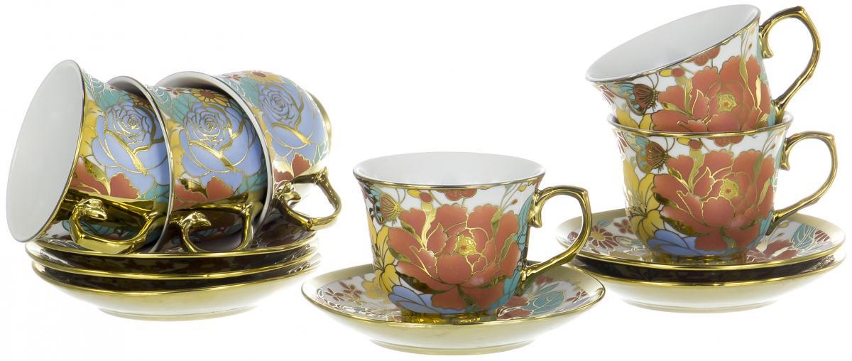 Набор чайный Olaff Цветы, 12 предметов. YSG-12RB-B-004YSG-12RB-B-004ЦВЕТЫ, набор чайный (12) 6 чашек 220мл + 6 блюдец NEW BONE CHINA, круглая подарочная упаковка