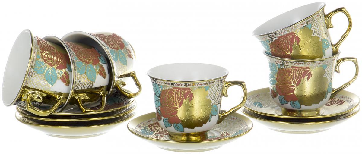 Набор чайный Olaff Цветы, 12 предметов. YSG-12RB-B-003YSG-12RB-B-003ЦВЕТЫ, набор чайный (12) 6 чашек 220мл + 6 блюдец NEW BONE CHINA, круглая подарочная упаковка
