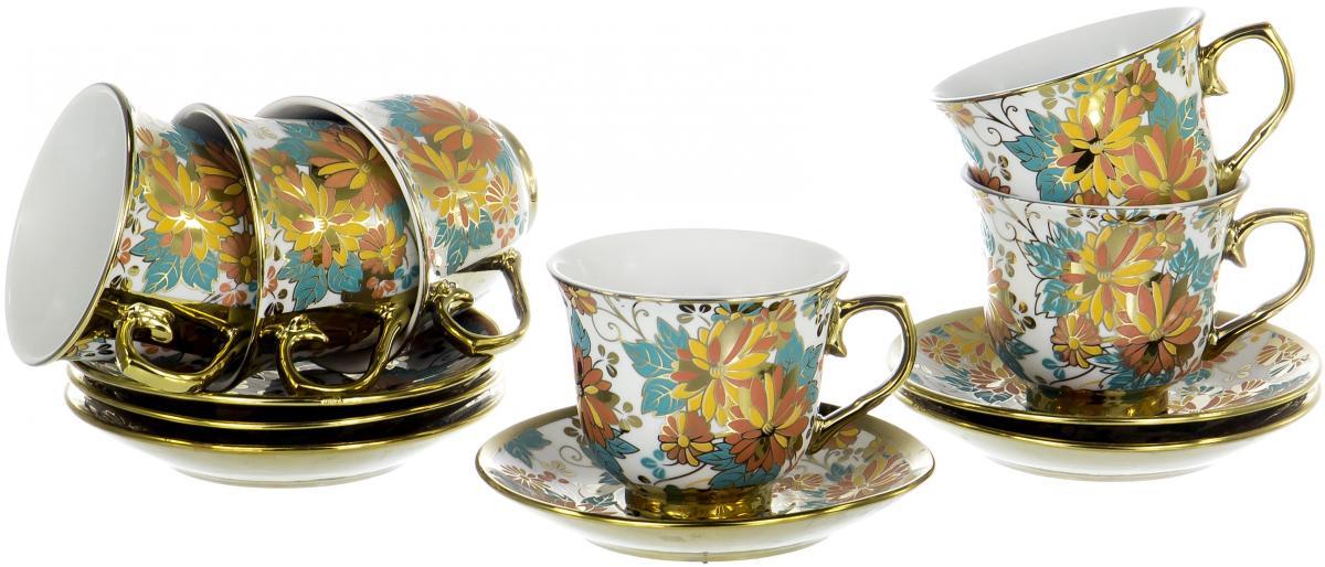 Набор чайный Olaff Цветы, 12 предметов. YSG-12RB-B-002YSG-12RB-B-002ЦВЕТЫ, набор чайный (12) 6 чашек 220мл + 6 блюдец NEW BONE CHINA, круглая подарочная упаковка