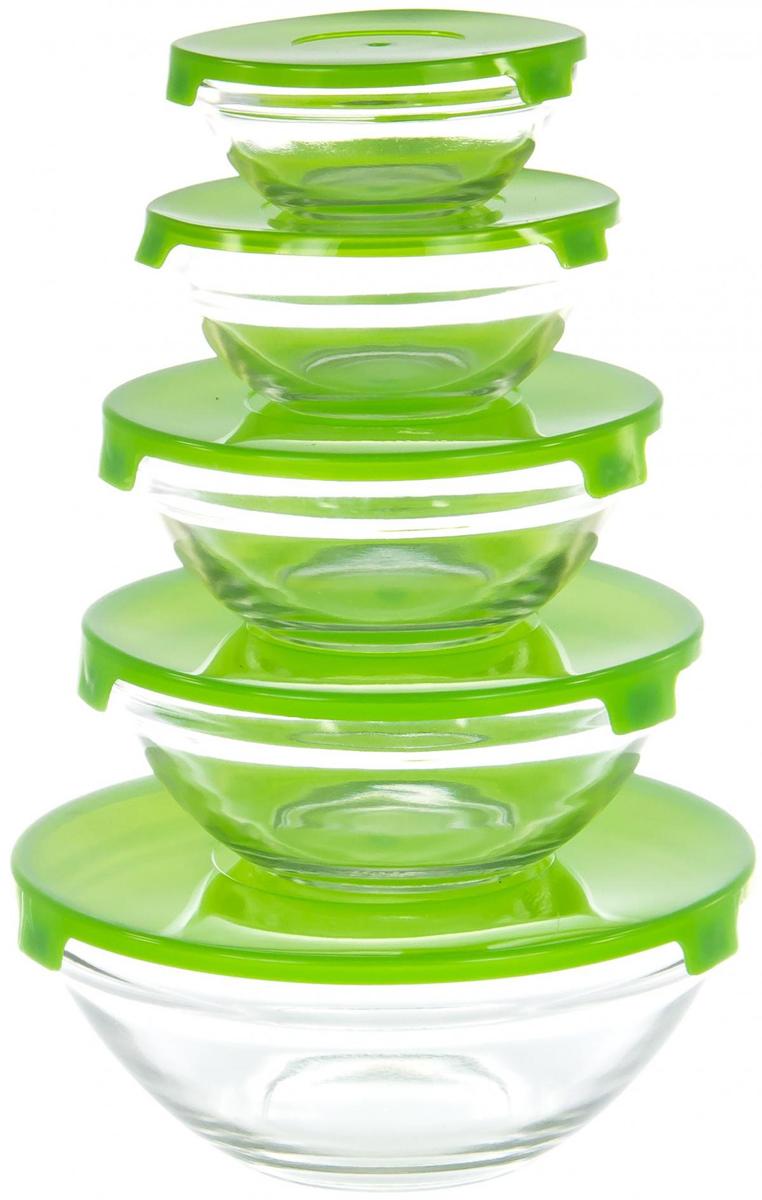 """Набор салатников """"Olaff"""" специально создан для любителей готовить и истинных гурманов. Ваши кулинарные эксперименты надолго сохранят вкус и запах благодаря плотно закрывающейся крышке! Согласитесь, такой набор салатников порадует своей функциональностью!  В наборе 5 салатников диаметром 100 мм, 103 мм, 125 мм, 140 мм, 170 мм с пластиковыми крышками."""