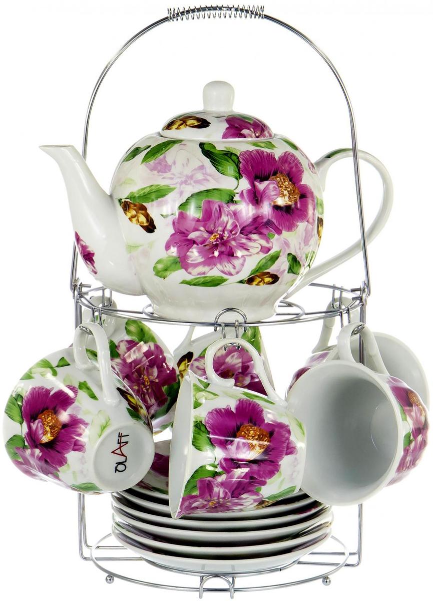 """Чайный набор """"Metal Stand"""" на шесть персон включает в себя шесть чашек 250 мл, шесть блюдец, заварочный чайник 1000 мл и металлическую подставку для удобного хранения, которая позволит сэкономить место на кухне. Посуда выполнена из качественного фарфора и декорирована жизнерадостным цветочным рисунком. Демократичный набор для повседневного использования и семейных посиделок"""