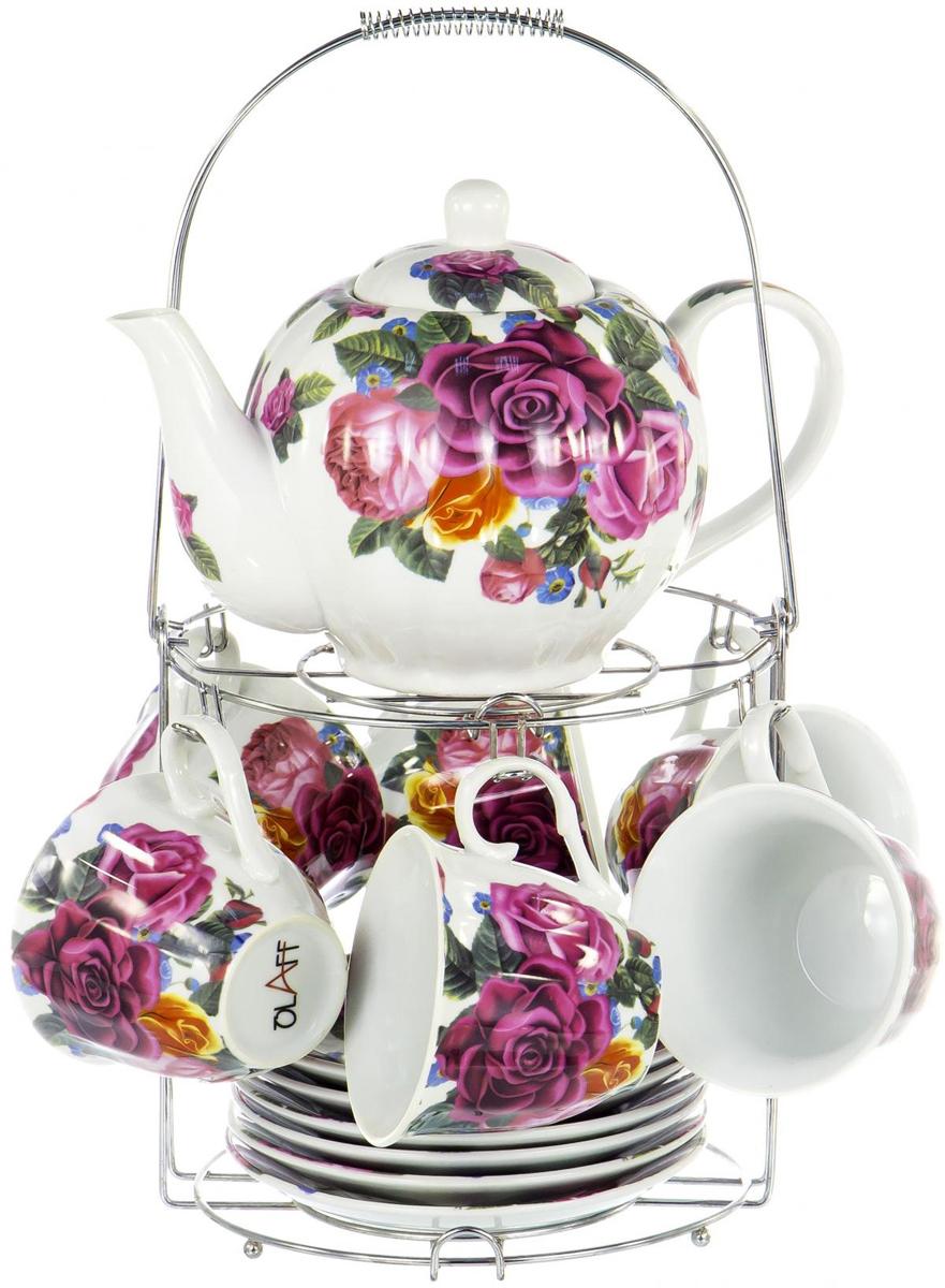 """Набор Olaff """"Metal Stand"""" состоит из шести чашек, шести  блюдец и заварочного чайника, изготовленных из высококачественного  фарфора. Изделия  расположены на  металлической подставке.  Изящный дизайн придется по вкусу и ценителям  классики, и тем, кто предпочитает утонченность и  изысканность. Он настроит на позитивный лад и  подарит хорошее настроение с самого утра. Чайный  набор Olaff """"Metal Stand"""" - идеальный и необходимый подарок  для вашего дома и для ваших друзей в праздники."""