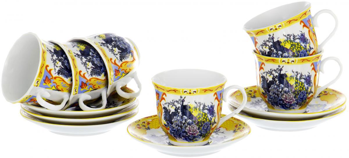 """Чайный набор """"Round Box"""" на шесть персон включает в себя шесть чашек 220 мл и шесть блюдец. Посуда выполнена из качественного фарфора и декорирована цветочным рисунком с персидскими мотивами. Демократичный набор для повседневного использования и семейных посиделок."""