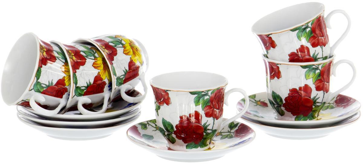 Набор чайный Olaff Round Box, 12 предметов. DL-RF6-220DL-RF6-220Чайный набор Round Box на шесть персон включает в себя шесть чашек 220 мл и шесть блюдец. Посуда выполнена из качественного фарфора и декорирована жизнерадостным цветочным рисунком. Демократичный набор для повседневного использования и семейных посиделок.