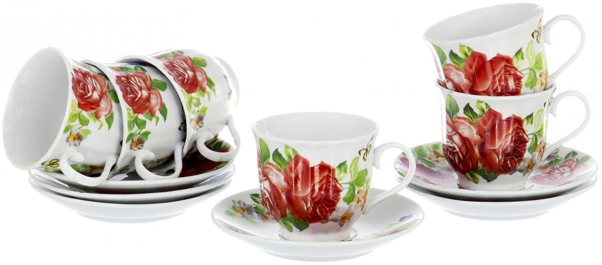 Набор чайный Olaff Round Box, 12 предметов. DL-RF6-225DL-RF6-225Чайный набор Round Box на шесть персон включает в себя шесть чашек 220 мл и шесть блюдец. Посуда выполнена из качественного фарфора и декорирована жизнерадостным цветочным рисунком. Демократичный набор для повседневного использования и семейных посиделок.