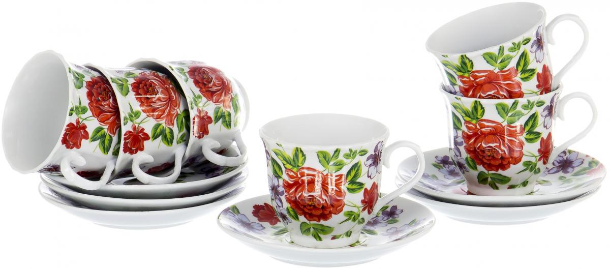 """Чайный набор """"Round Box"""" на шесть персон включает в себя шесть чашек 220 мл и шесть блюдец. Посуда выполнена из качественного фарфора и декорирована жизнерадостным цветочным рисунком. Демократичный набор для повседневного использования и семейных посиделок."""