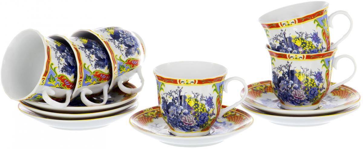 """Чайный набор """"Round Box"""" на шесть персон включает в себя шесть чашек 220 мл и шесть блюдец. Посуда выполнена из качественного фарфора и декорирована цветочным рисунком. Демократичный набор для повседневного использования и семейных посиделок."""