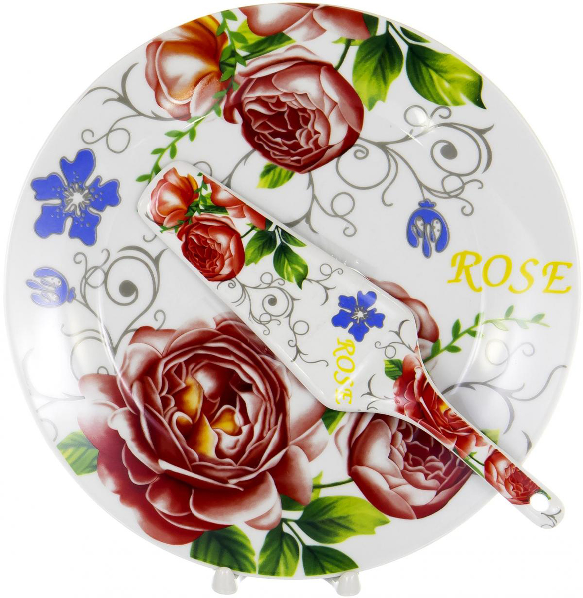"""Набор для торта """"Olaff"""" состоит из блюда и лопатки. Изделия выполнены из керамики и оформлены изящным рисунком. Набор идеален для подачи тортов, пирогов и другой выпечки. Яркий дизайн сделает набор изысканным украшением праздничного стола.  CAKE 2, набор д/торта (2) тарелка 270мм + лопатка, упаковка - цвет.короб"""