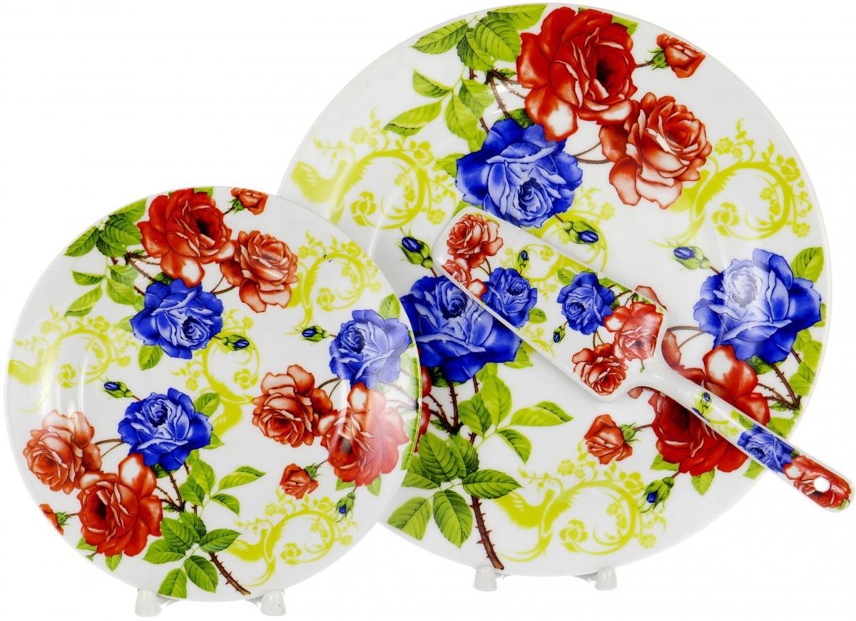 Набор для торта Olaff, 8 предметов. DL-S8CB-173DL-S8CB-173Набор для торта Olaff состоит из 6 мелких тарелок, блюда и лопатки. Изделия выполнены из керамики и оформлены изящным рисунком. Набор идеален для подачи тортов, пирогов и другой выпечки. Яркий дизайн сделает набор изысканным украшением праздничного стола.В наборе: 6 мелких тарелок диаметром 20 см, тарелка для торта диаметром 27 см, лопатка.