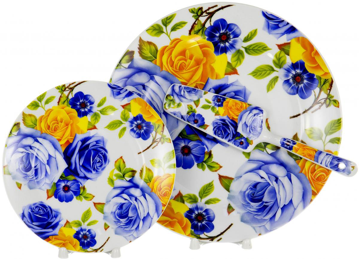"""Набор для торта """"Olaff"""" состоит из 6 мелких тарелок, блюда и лопатки. Изделия выполнены из керамики и оформлены изящным рисунком. Набор идеален для подачи тортов, пирогов и другой выпечки. Яркий дизайн сделает набор изысканным украшением праздничного стола.  В наборе: 6 мелких тарелок диаметром 20 см, тарелка для торта диаметром 27 см, лопатка."""