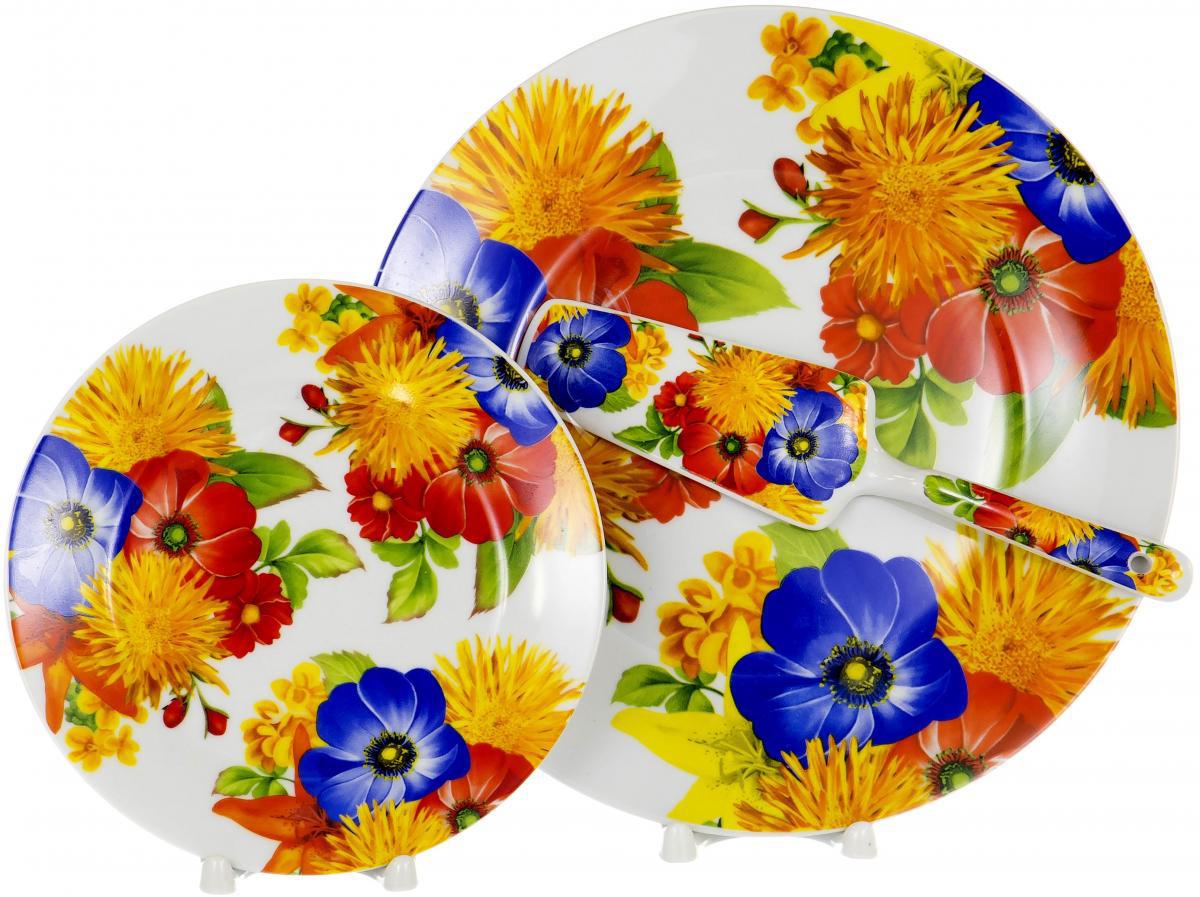 """Набор для торта """"Olaff"""" состоит из 6 мелких тарелок, блюда и лопатки. Изделия выполнены из керамики и оформлены изящным рисунком. Набор идеален для подачи тортов, пирогов и другой выпечки. Яркий дизайн сделает набор изысканным украшением праздничного стола.  Набор: 6 мелк.тарелок 200мм + тарелка 270мм + лопатка."""