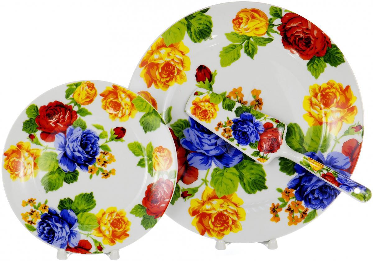 Набор для торта Olaff, 8 предметов. DL-S8CB-201DL-S8CB-201Набор для торта Olaff состоит из 6 мелких тарелок, блюда и лопатки. Изделия выполнены из керамики и оформлены изящным рисунком. Набор идеален для подачи тортов, пирогов и другой выпечки. Яркий дизайн сделает набор изысканным украшением праздничного стола.В наборе: 6 мелких тарелок диаметром 20 см, тарелка для торта диаметром 27 см, лопатка.
