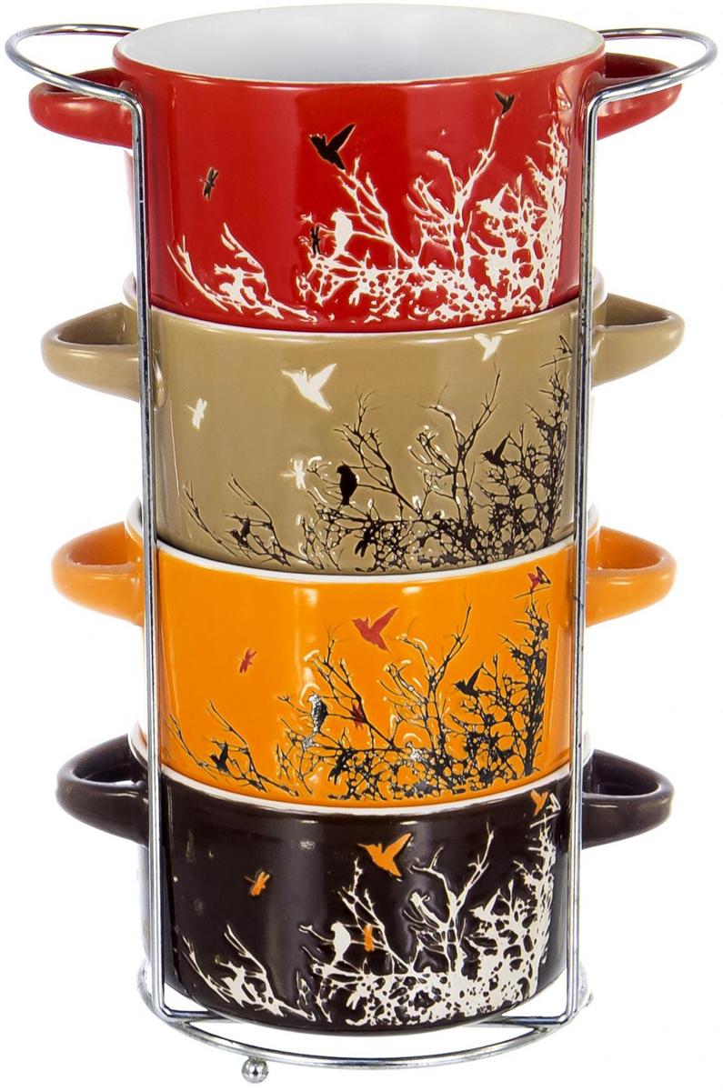 """Набор """"Осень"""" включает в себя 4 бульонницы, выполненных из  высококачественной  керамики, и металлической подставки. Керамика обладает термической и химической  прочностью, поэтому  изделия прослужат вам длительное время.  Набор прекрасно подходит для подачи супов,  бульонов и других блюд. Элегантный дизайн отлично  впишется в интерьер любой кухни."""