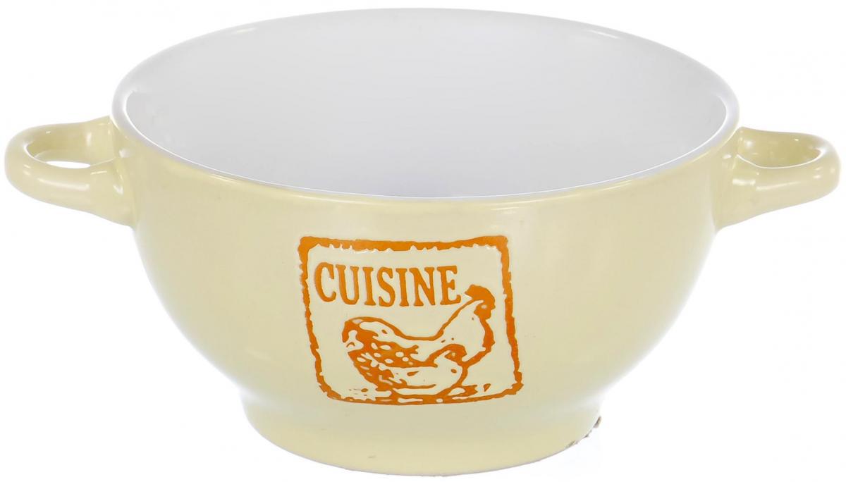 Салатник Elrington Cuisine, цвет: молочный, 300 млGR-801220CСалатник Elrington Cuisine выполнен из керамики и оснащен двумя ручками.Изделие отлично подойдет как для холодных,так и для горячих блюд. Его удобно использовать дома или надаче.