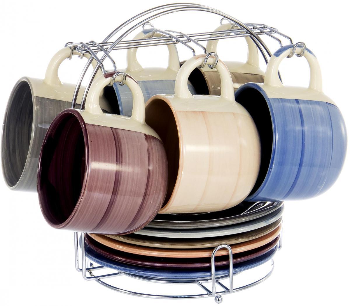 """Набор Elrington """"Аэрограф"""" состоит из шести чашек и шести  блюдец, изготовленных из высококачественной керамики. Изделия  расположены на  металлической подставке.  Изящный дизайн придется по вкусу и ценителям  классики, и тем, кто предпочитает утонченность и  изысканность. Он настроит на позитивный лад и  подарит хорошее настроение с самого утра. Чайный  набор Elrington """"Аэрограф"""" - идеальный и необходимый подарок  для вашего дома и для ваших друзей в праздники."""