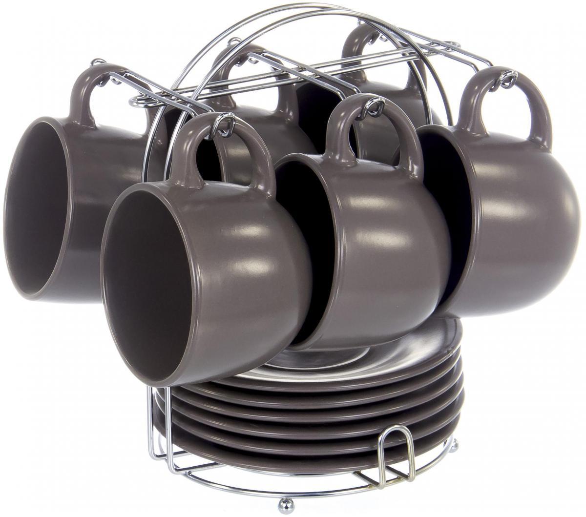 """Набор Elrington """"Моно"""" состоит из шести чашек и шести  блюдец, изготовленных из высококачественной керамики. Изделия  расположены на  металлической подставке.  Изящный дизайн придется по вкусу и ценителям  классики, и тем, кто предпочитает утонченность и  изысканность. Он настроит на позитивный лад и  подарит хорошее настроение с самого утра. Чайный  набор Elrington """"Моно"""" - идеальный и необходимый подарок  для вашего дома и для ваших друзей в праздники."""