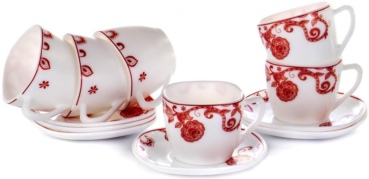 """Чайный набор """"Красные цветы"""" на шесть персон включает в себя шесть чашек квадратного сечения 230 мл и шесть блюдец. Посуда выполнена из качественной стеклокерамики и декорирована стильным монохромным орнаментом. Превосходный набор для повседневного использования и семейных посиделок."""