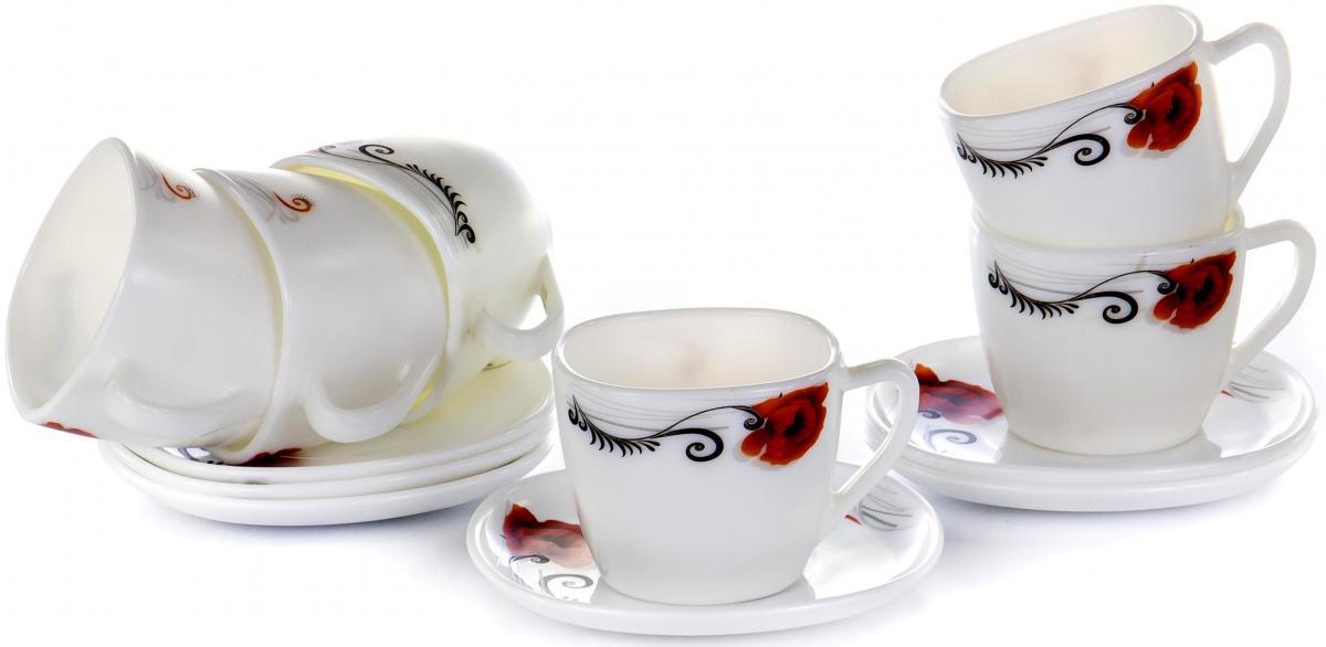 """Чайный набор """"Мак"""" на шесть персон включает в себя шесть чашек квадратного сечения 230 мл и шесть блюдец. Посуда выполнена из качественной стеклокерамики и декорирована стильным орнаментом. Превосходный набор для повседневного использования и семейных посиделок."""