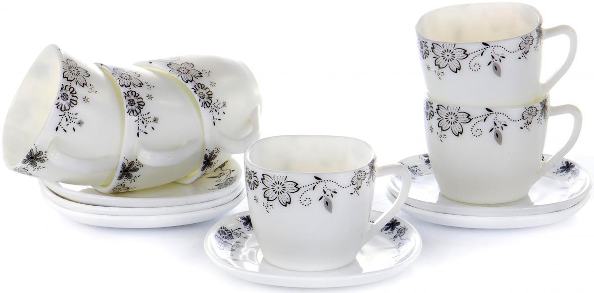 """Чайный набор """"Черные цветы"""" на шесть персон включает в себя шесть чашек квадратного сечения 230 мл и шесть блюдец. Посуда выполнена из качественной стеклокерамики и декорирована цветочным орнаментом. Превосходный набор для семейных чаепитий и торжеств."""