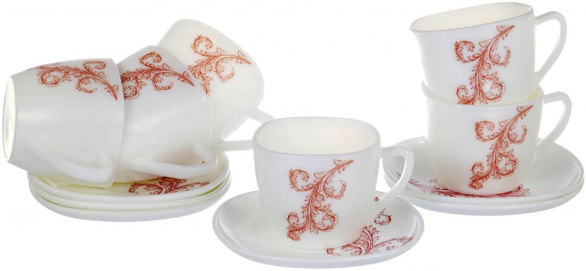 """Чайный набор """"Красный стебель"""" на шесть персон включает в себя шесть чашек квадратного сечения 230 мл и шесть блюдец. Посуда выполнена из качественной стеклокерамики и декорирована стильным монохромным орнаментом. Превосходный набор для повседневного использования и семейных посиделок."""