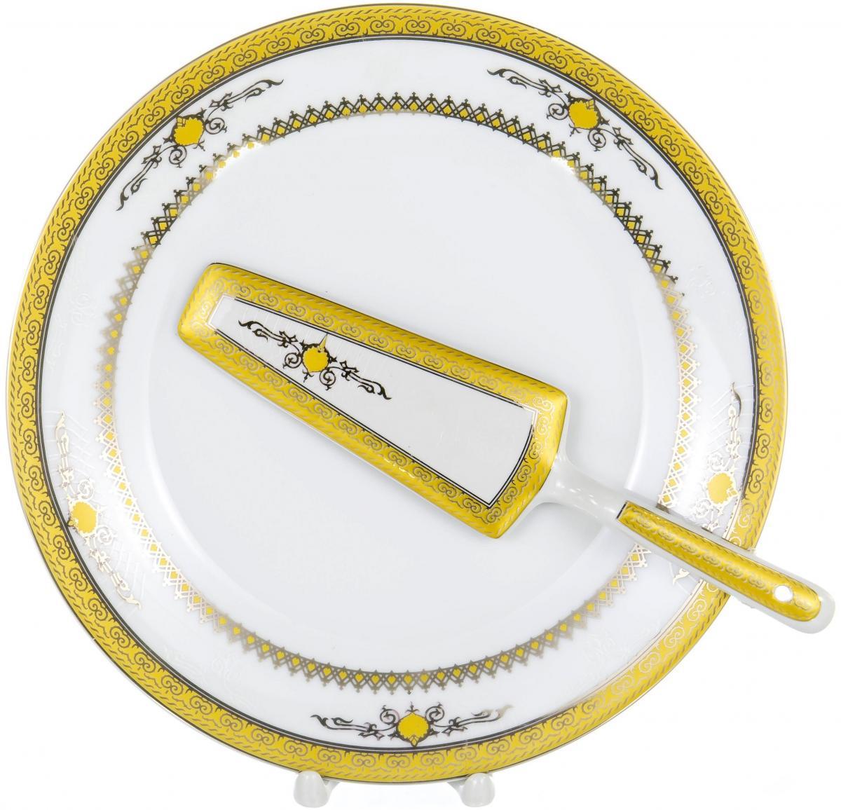 CAKE 2, набор д/торта (2) блюдо 255мм + лопатка, декор - золото-серебро, подарочная упаковка