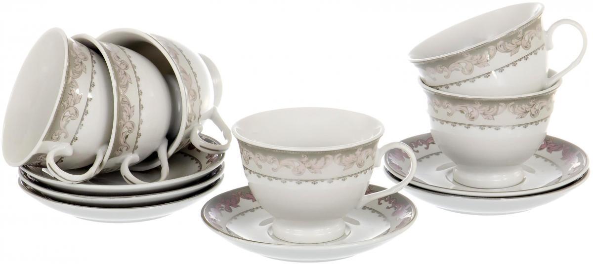 """Чайный набор """"Round Box"""" на шесть персон включает в себя шесть чашек 220 мл и шесть блюдец. Посуда выполнена из качественного фарфора и декорирована нежным растительным орнаментом. Демократичный набор для повседневного использования и семейных посиделок."""
