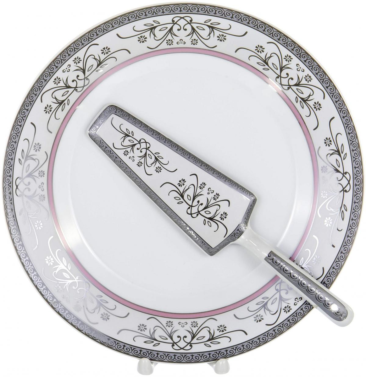 Набор для торта Olaff, 2 предмета. LRS-CPN2-010LRS-CPN2-010Набор для торта Olaff состоит из блюда и лопатки. Изделия выполнены из керамики и оформлены изящным рисунком. Набор идеален для подачи тортов, пирогов и другой выпечки. Яркий дизайн сделает набор изысканным украшением праздничного стола.В наборе: тарелка диаметром 25,5 см и лопатка.