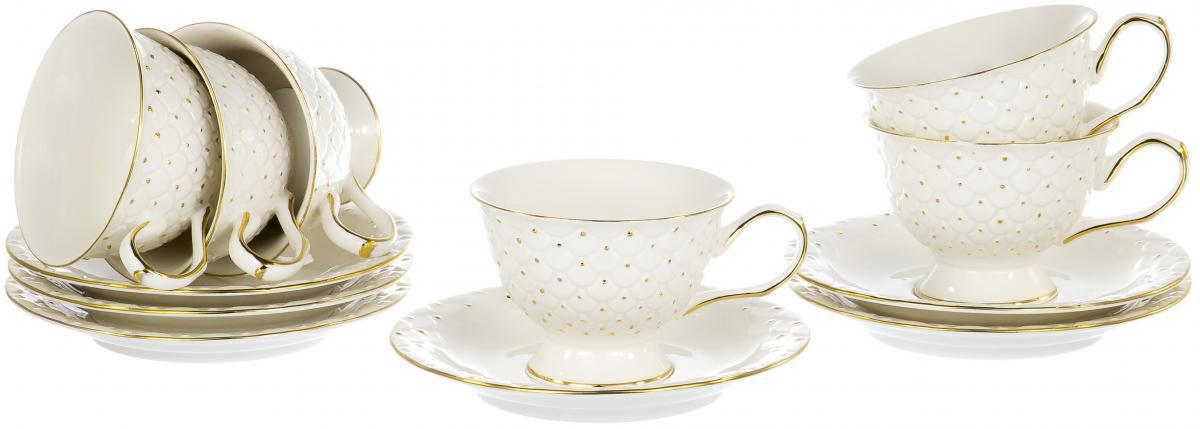 Набор чайный Olaff Цветы, 12 предметовRL14872N-12-GЧайный набор Цветы на шесть персон включает в себя шесть чашек 220 мл и шесть блюдец. Посуда выполнена из фарфора и декорирована золотым орнаментом. Превосходный набор для семейных чаепитий и торжеств.