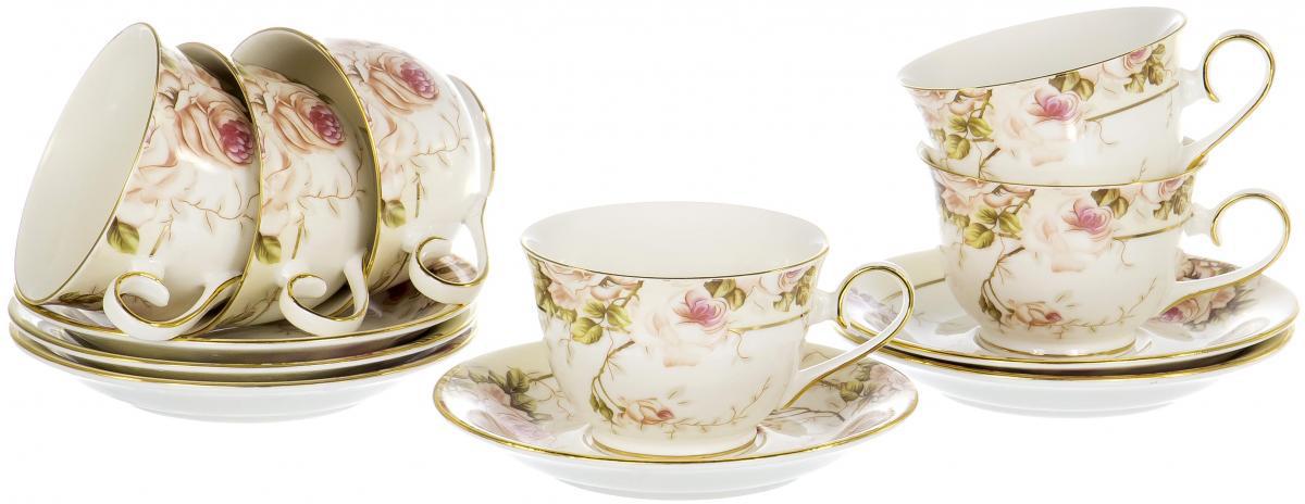 Набор чайный Olaff Цветы, 12 предметовRL14904N-12Чайный набор Цветы на шесть персон включает в себя шесть чашек 220 мл и шесть блюдец. Посуда выполнена из фарфора и декорирована нежным цветочным рисунком в пастельных тонах. Превосходный набор для семейных чаепитий и торжеств.