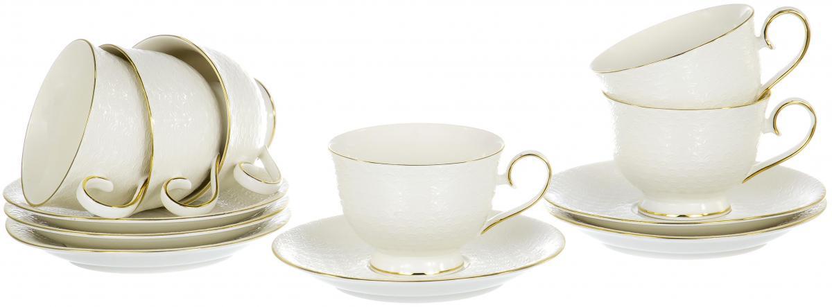 """Чайный набор """"Лепестки"""" на шесть персон включает в себя шесть чашек 220 мл и шесть блюдец. Посуда выполнена из фарфора, имеет рельефную фактуру и декорирована изысканным золотым орнаментом. Превосходный набор для традиционных семейных чаепитий и торжеств."""