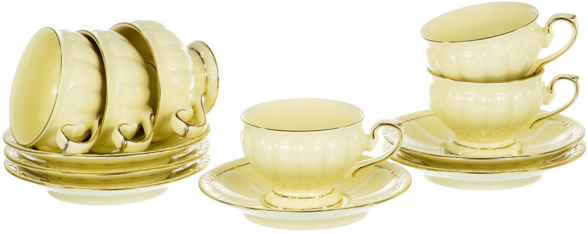 """Чайный набор """"Лотос"""" на шесть персон включает в себя шесть чашек 220 мл и шесть блюдец. Посуда выполнена из фарфора и декорирована золотой каймой. Превосходный набор для повседневного использования и семейных торжеств."""