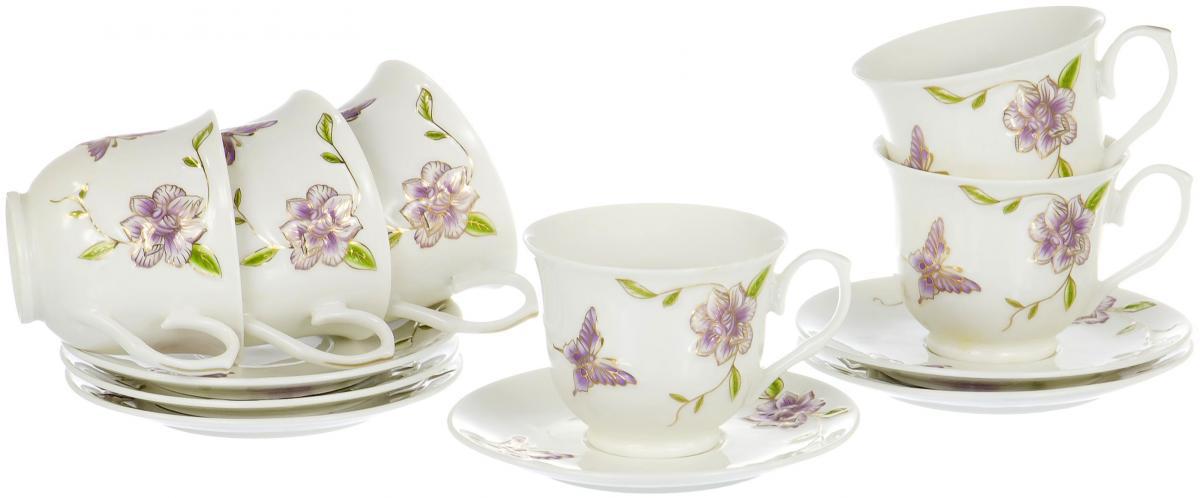 Набор чайный Olaff Цветы, 12 предметовSC-EDB6PB-034Чайный набор Цветы на шесть персон включает в себя шесть чашек 220 мл и шесть блюдец. Посуда выполнена из фарфора и декорирована золотым орнаментом. Превосходный набор для семейных чаепитий и торжеств.