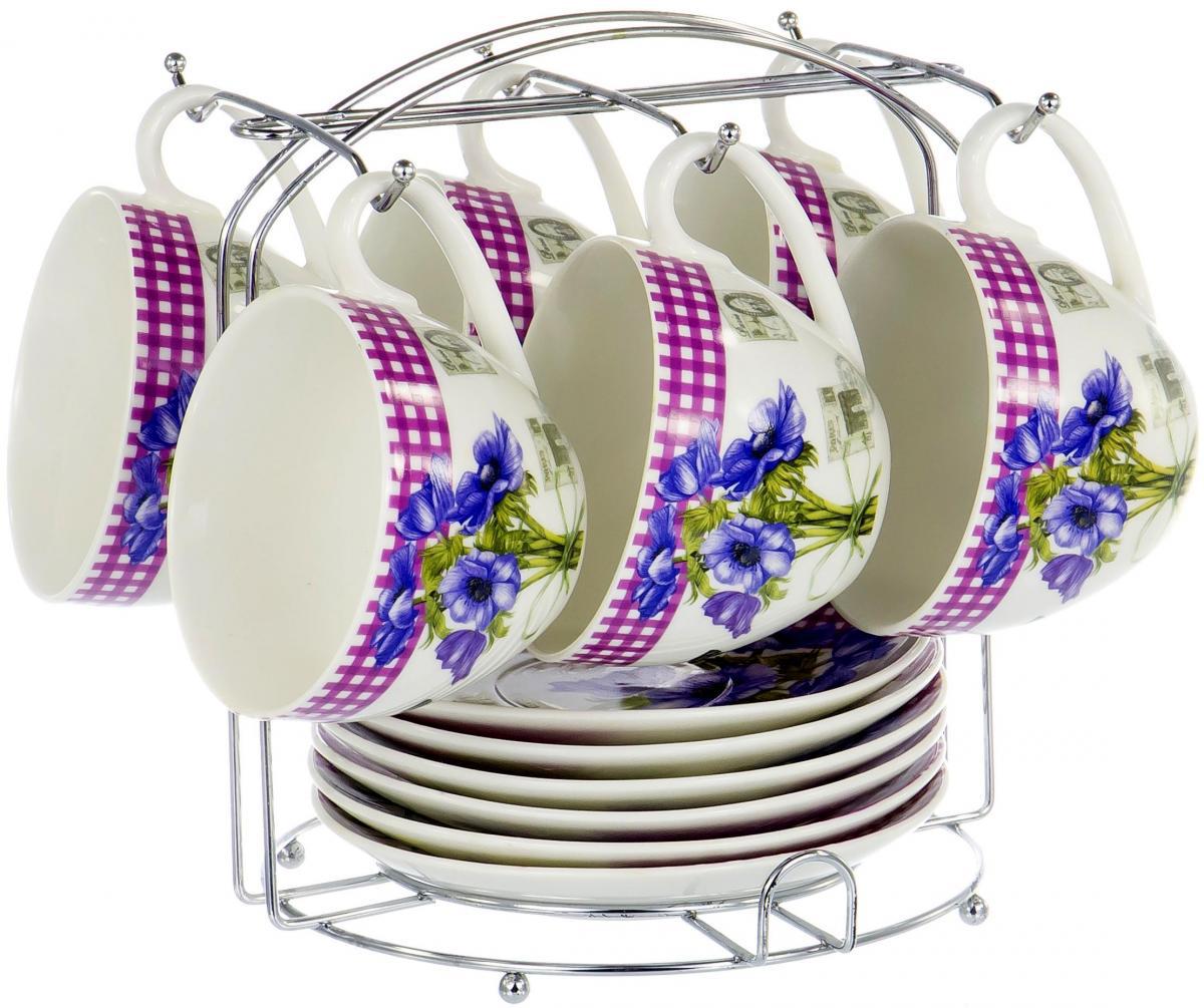 Набор чайный 12 предметов на металлическом стенде в цветной коробке цветной декор, NBC, 220 мл