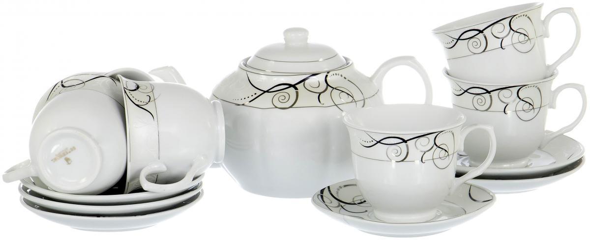 """Чайный набор """"Rectangular Gift Box"""" на шесть персон включает в себя шесть чашек 250 мл, шесть блюдец и заварочный чайник 1200 мл. Посуда выполнена из качественного фарфора и декорирована нейтральным орнаментом. Стильный набор для повседневного использования и семейных посиделок."""