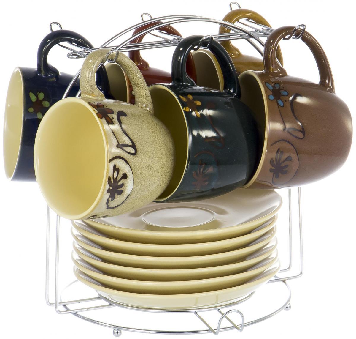 Набор чайный Elrington Кочин, 13 предметов. YC-296-GZ-04YC-296-GZ-04Чайный набор Кочин на шесть персон включает в себя шесть чашек 250 мл, шесть блюдец и металлическую подставку, которая позволит сэкономить место на кухне. Посуда выполнена из керамики и декорирована глазурью шести разных цветов. Демократичный набор для повседневного использования и семейных посиделок.