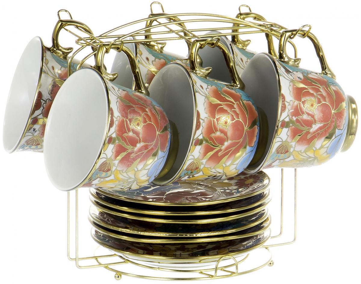 Набор чайный Olaff Цветы, 12 предметов. YSG-12MS-B-004 чайный набор 4пр chance v 220мл керамика подарочная упаковка