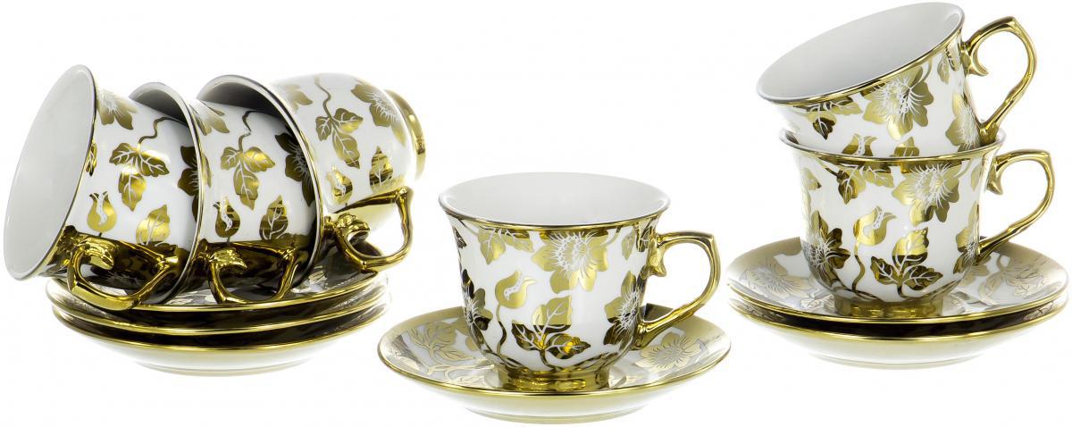 """Чайный набор """"Цветы"""" на шесть персон выполнен из фарфора и декорирован золотым орнаментом. Превосходный набор для семейных чаепитий и торжеств."""