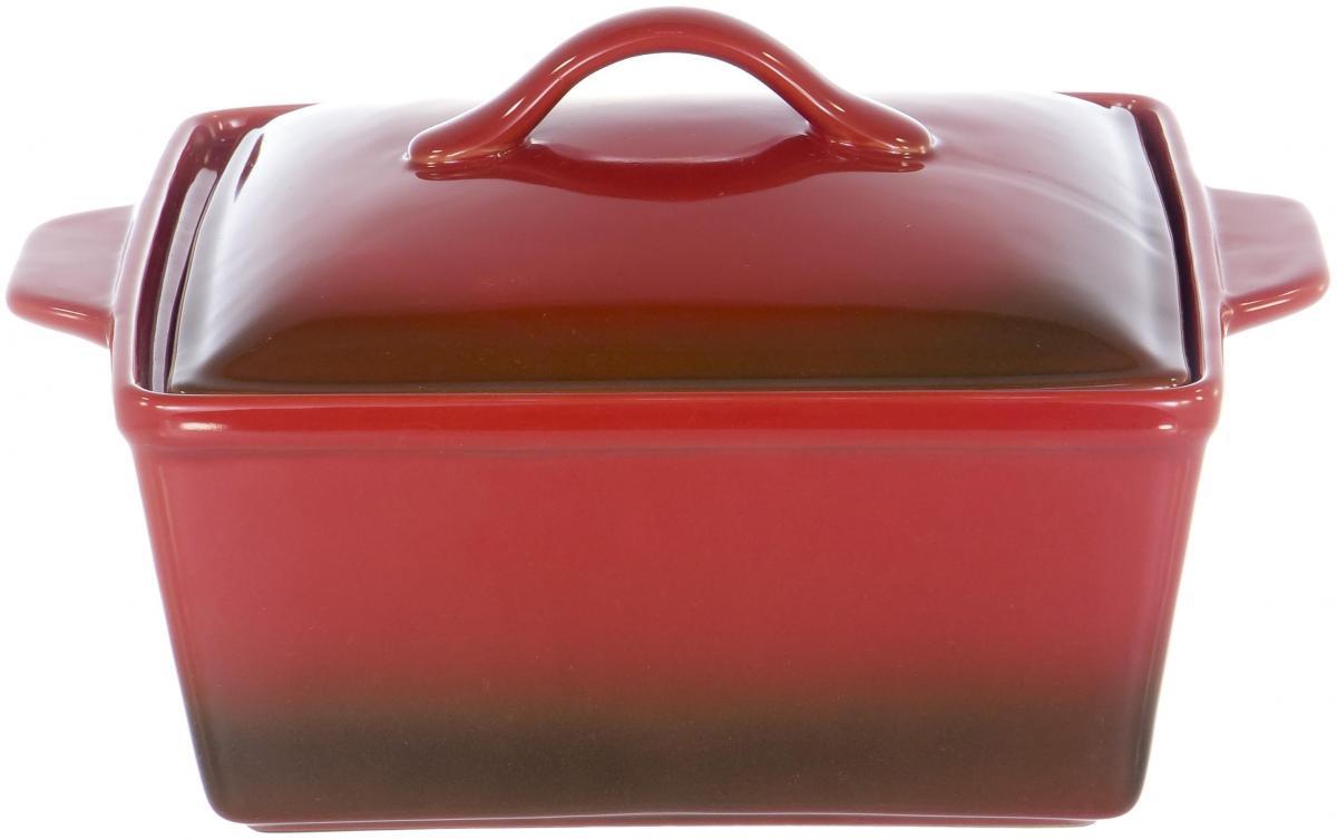 ХУТОРЯНКА, кастрюля 26 х 21,9 х 15см, цвет - красный чугун матовый, упаковка - белый короб