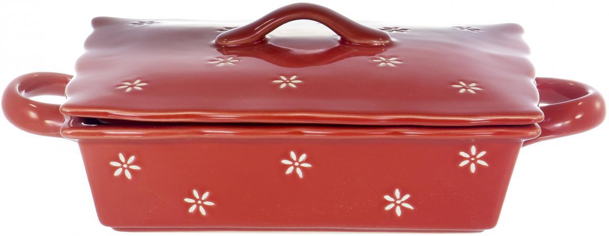Блюдо прямоугольное с крышкой «Хуторянка» предназначено для запекания в духовом шкафу.  Изделие выполнено из керамики в красном цвете.  Можно мыть в посудомоечной машине.  Размер изделия: 27 х 16 х 9.3 см.  Поставляется в белой картонной упаковке.
