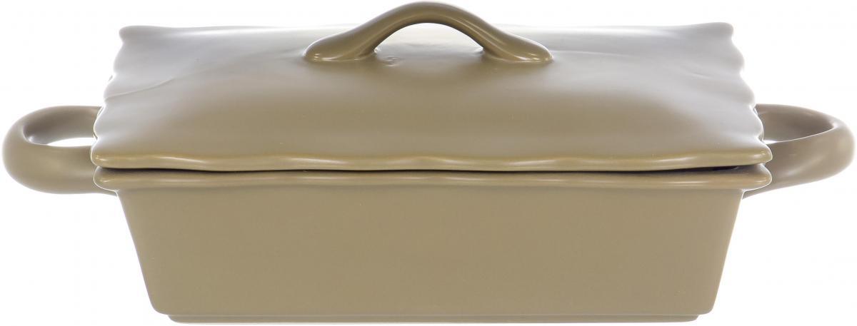 ХУТОРОК, блюдо прямоугольное 27 х 16 х 9,3см с крышкой, цвет - тобакко матовый, упаковка - белый короб