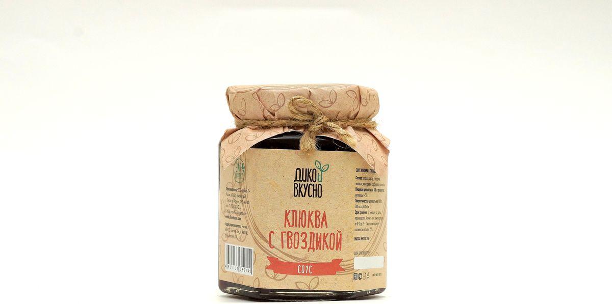 Дико Вкусно Соус ягодный клюква с гвоздикой, 200 г ufeelgood cranberry natural натуральная вяленная клюква 100 г