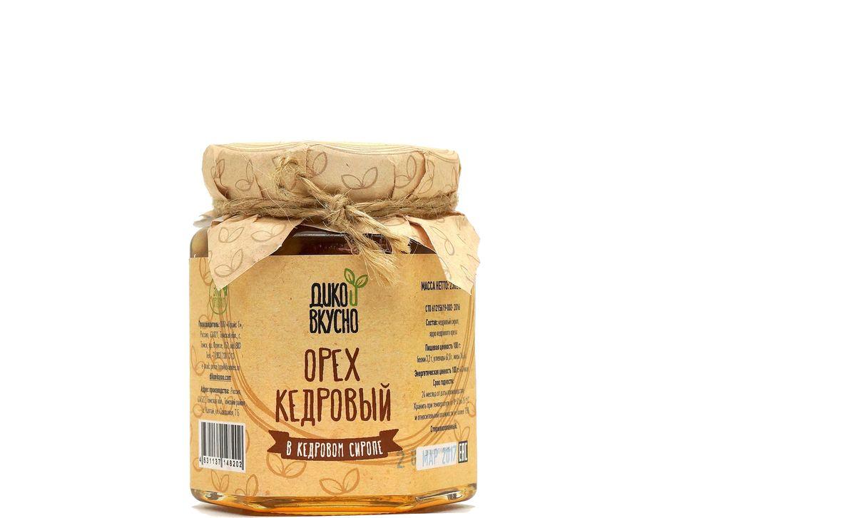 Дико Вкусно Кедровый орех в кедровом сиропе, 220 г скраб для лица кедровый орех и green mama скраб для лица кедровый орех и